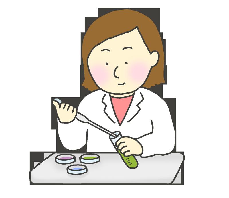 実験をする女性のイラスト