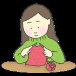 編み物をする女性のイラスト