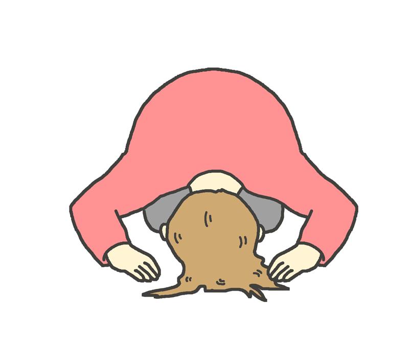 土下座する女性のイラスト