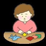 折り紙する女性のイラスト