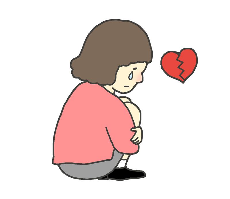 俯いて泣く繊細な女性のイラスト
