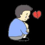 俯いて涙を流す男性のイラスト
