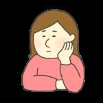 しらけた表情の女性のイラスト