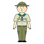 ボーイスカウトの制服を着た男の子のイラスト
