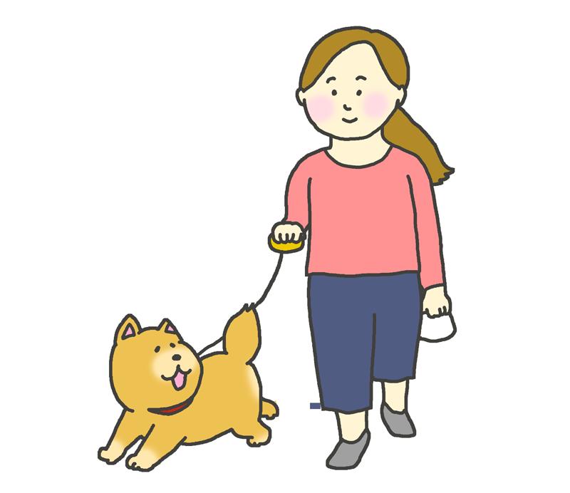 犬の散歩をする女性のイラスト