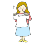 洋服の試着をする女性のイラスト