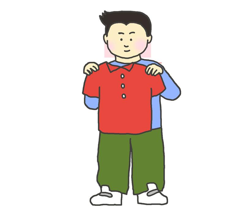 洋服の試着をする男性のイラスト
