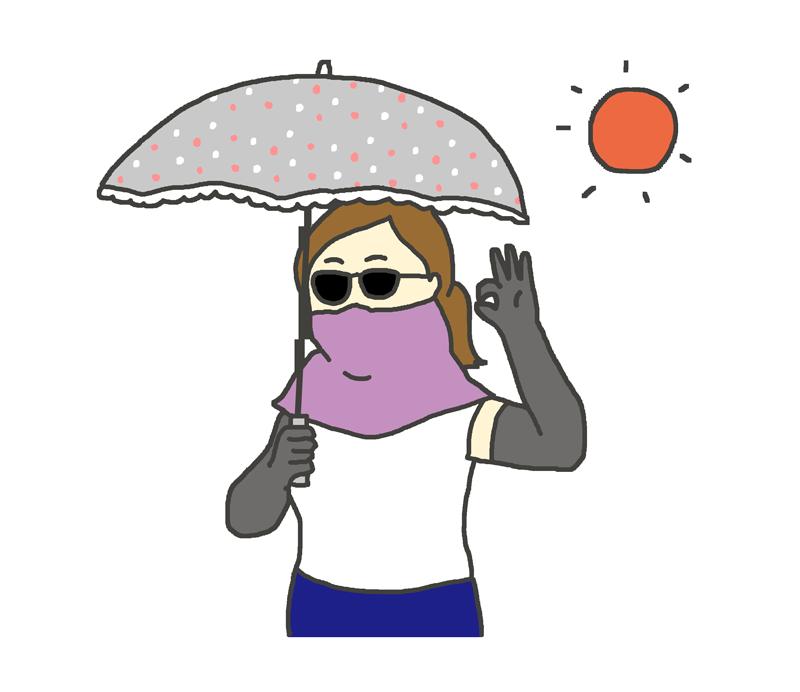 日焼け対策が万全な女性のイラスト