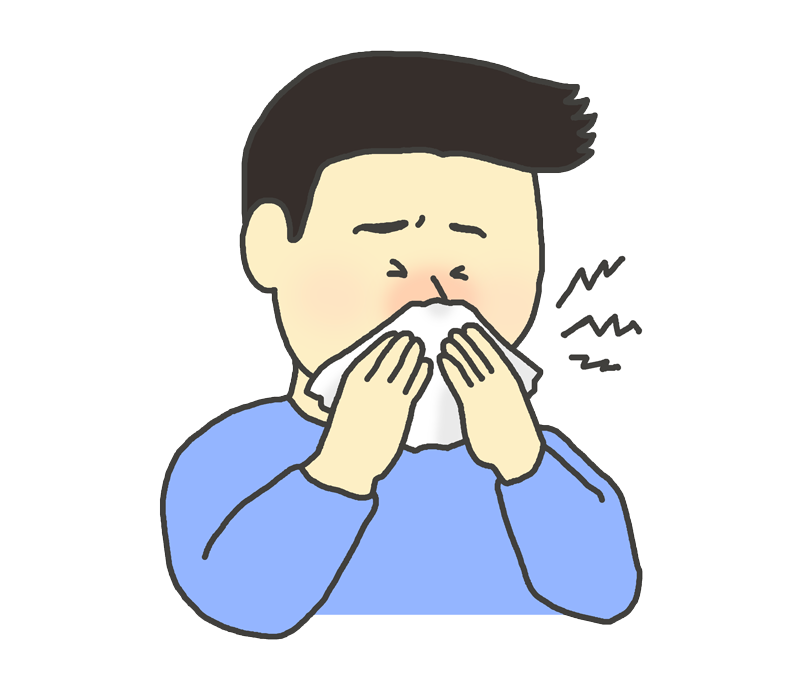 鼻水をかむ男性のイラスト