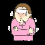 風邪を引いた女性のイラスト
