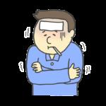 風邪を引いた男性のイラスト