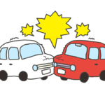 自動車の正面衝突事故のイラスト