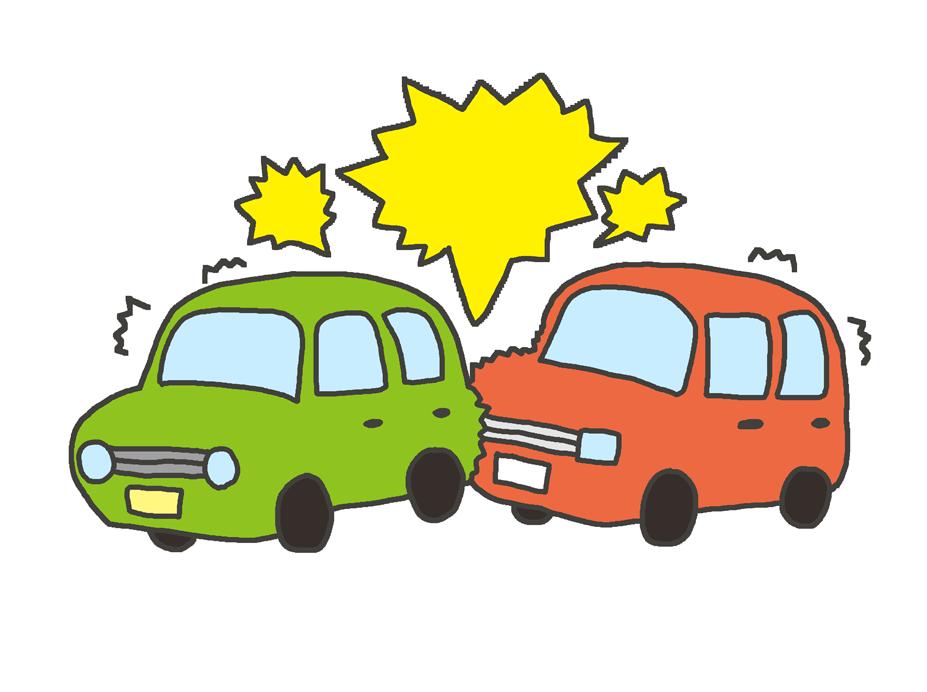 交通事故のイラスト(玉突き事故)