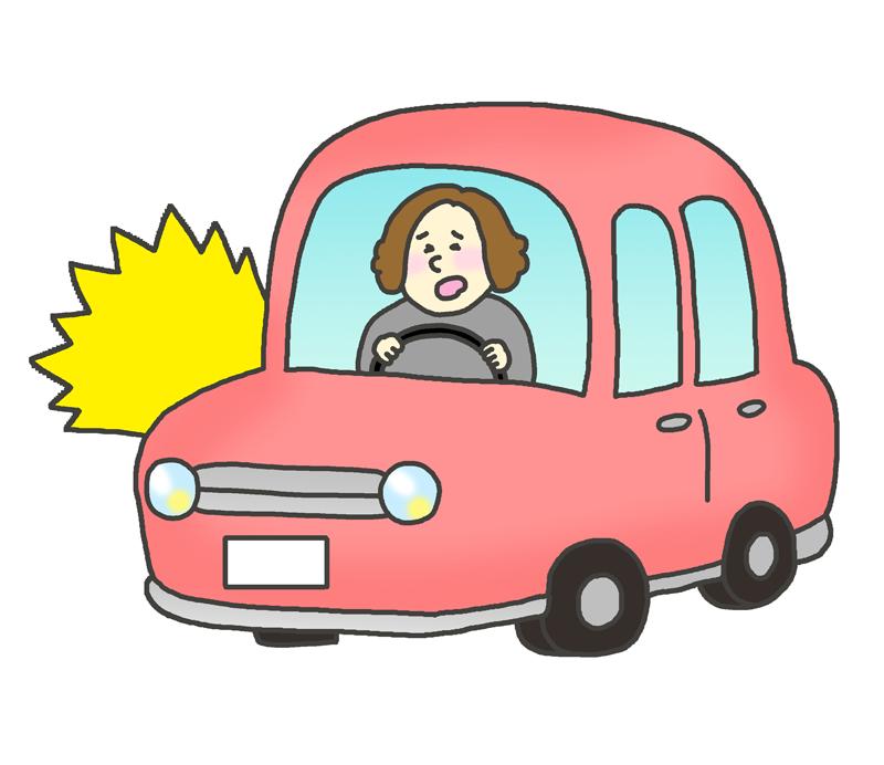 交通事故を起こした女性のイラスト