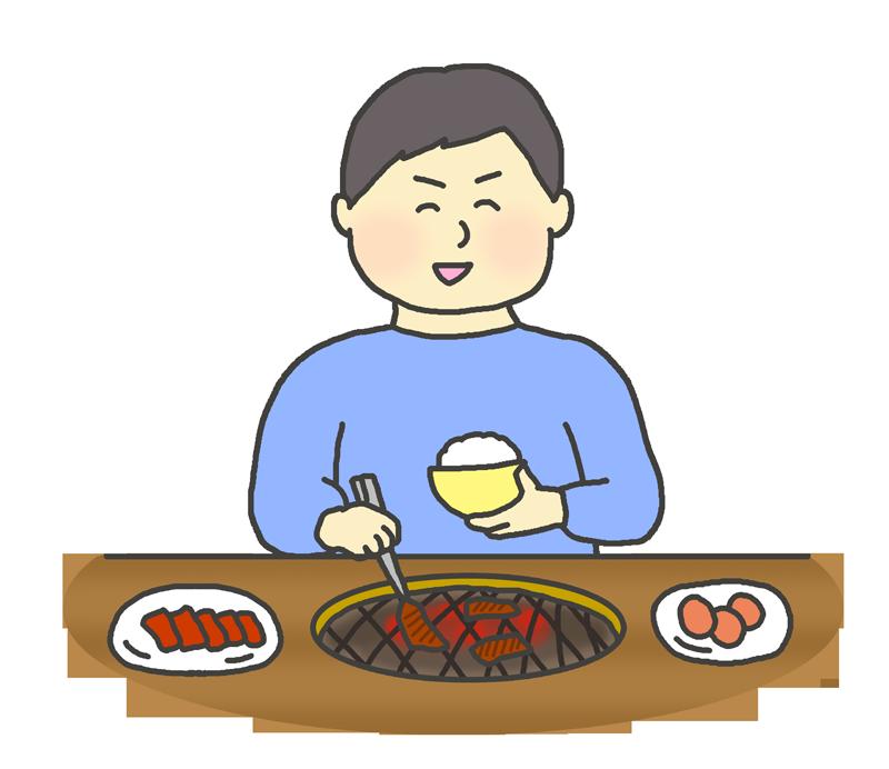 一人焼肉をする男性のイラスト