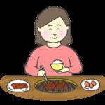 約肉を食べる女性のイラスト