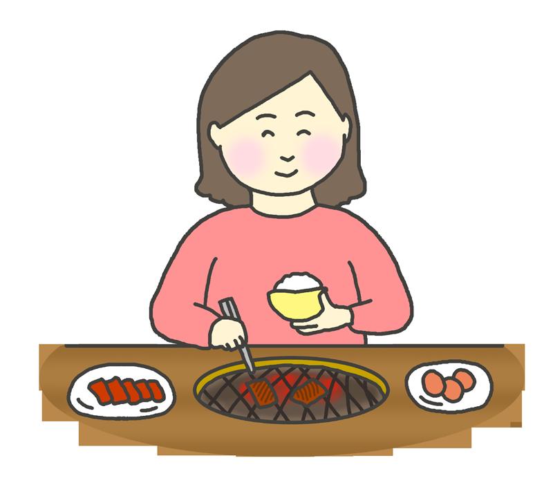 一人で焼肉を食べる女性のイラスト