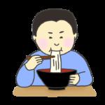 麺料理をすする男性のイラスト