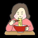 ラーメンを食べる女性のイラスト