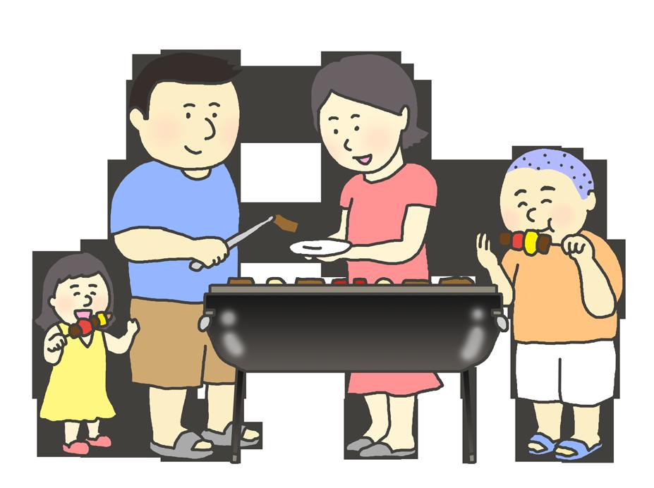 BBQをする大人と子供のイラスト