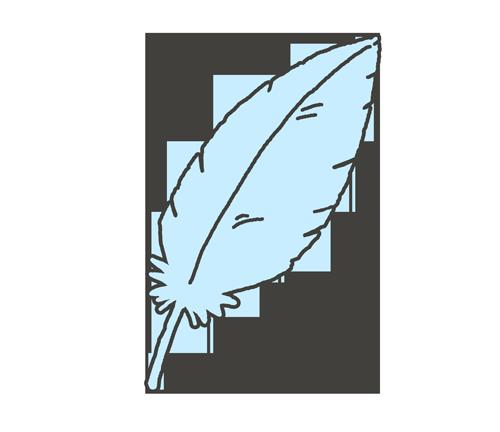 水色の羽根のイラスト