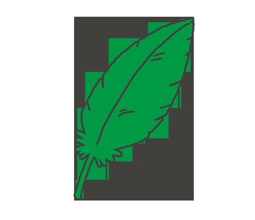 緑色の羽根のイラスト