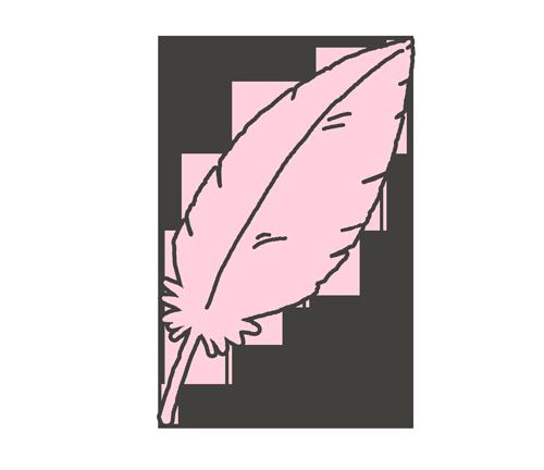 ピンク色の羽根のイラスト