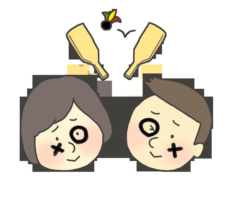 羽根つき遊びの罰ゲームのイラスト