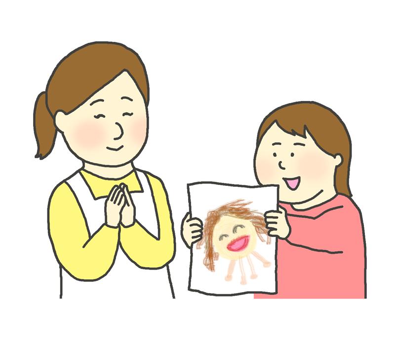 お母さんに似顔絵をプレゼントする女の子のイラスト(母の日)