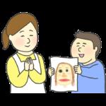 お母さんに似顔絵をプレゼントする男の子のイラスト(母の日)