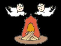迎え火と先祖の霊のイラスト