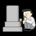 お墓参りをする男性のイラスト