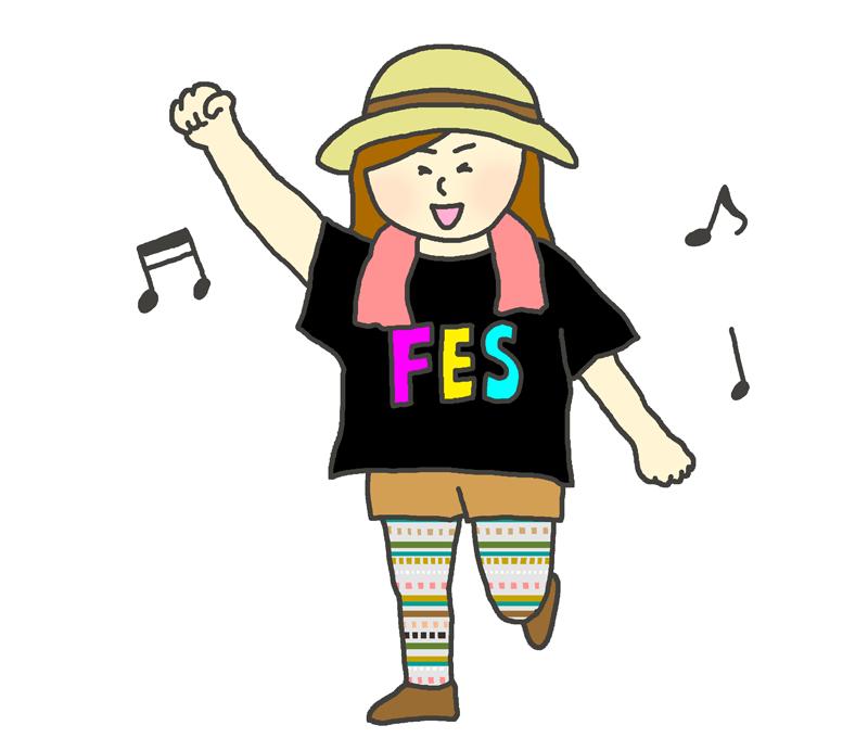 野外音楽祭を楽しむ女性のイラスト