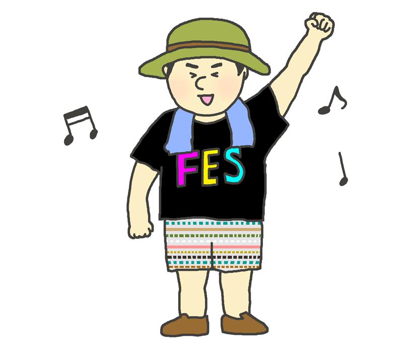 野外音楽祭を楽しむ男性のイラスト