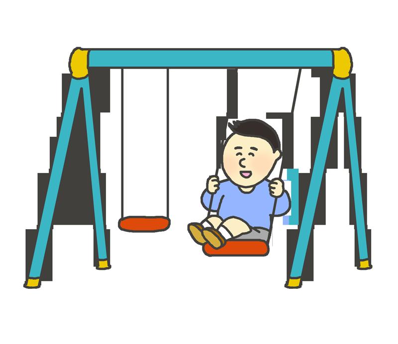 ブランコに乗って遊ぶ人のイラスト