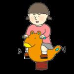 スプリング遊具に乗って遊ぶ人のイラスト