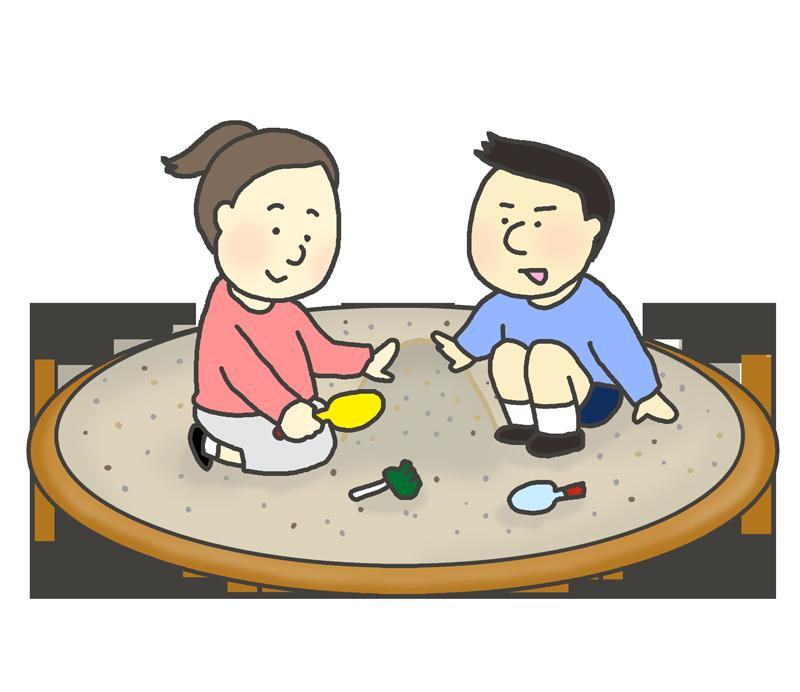 砂場で遊ぶ子供たちのイラスト