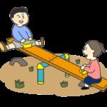 シーソーで遊ぶ女の子と男の子のイラスト