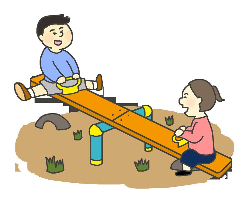 シーソーで遊ぶ子供(女の子と男の子)のイラスト