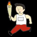 聖火をもって走る男性のイラスト