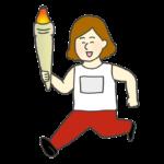 聖火をもって走る女性のイラスト