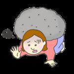 ストレスやプレッシャーに押しつぶされる女性のイラスト