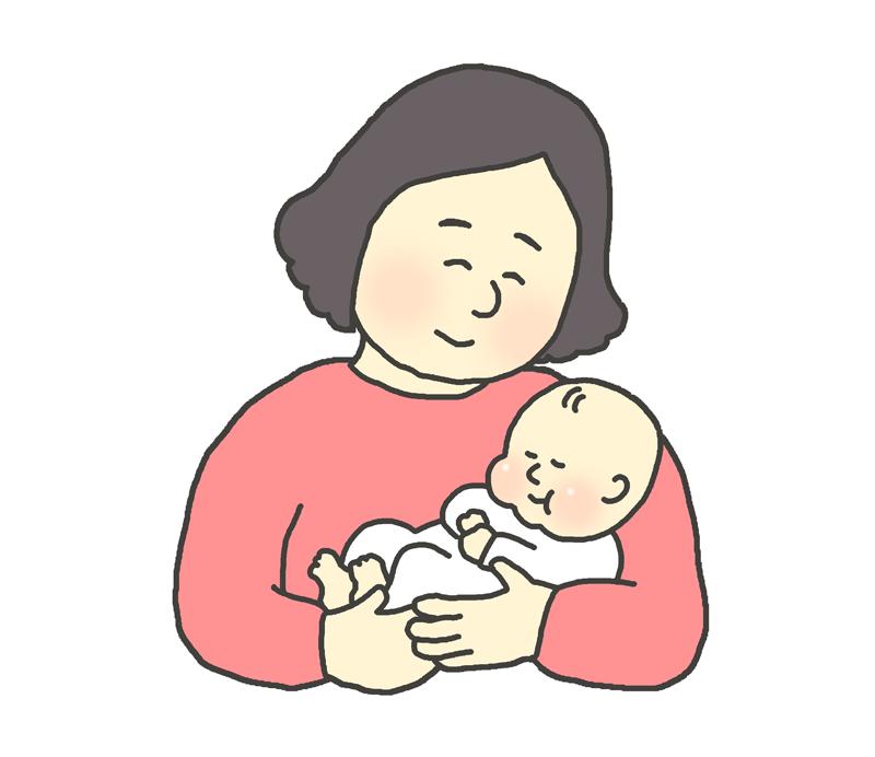 赤ん坊を抱っこするお母さんのイラスト