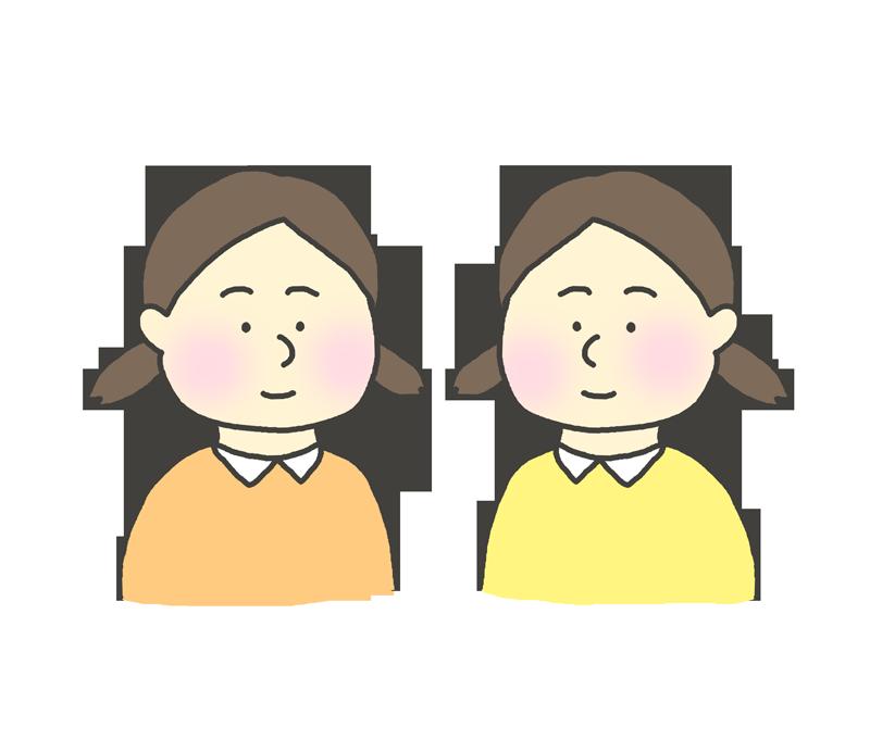 ふたごの女の子のイラスト