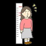 背丈が伸びた女性のイラスト(成長)