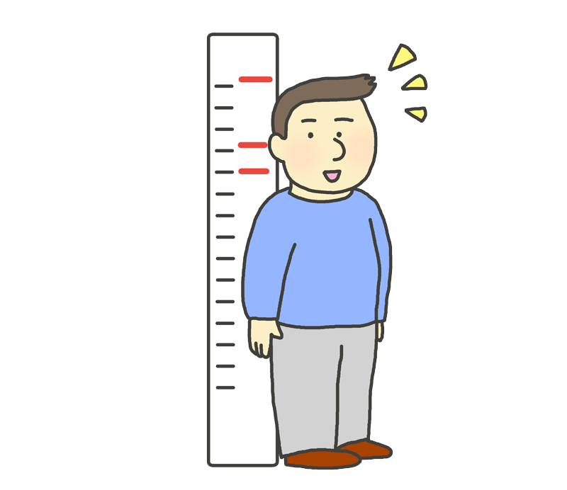 背丈が伸びた男性のイラスト(成長)