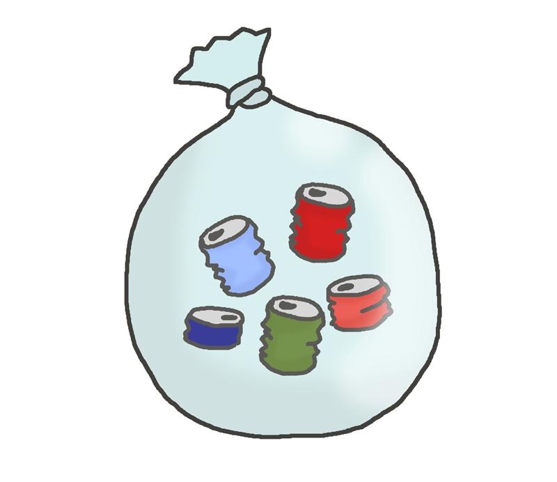 潰した空き缶のゴミのイラスト