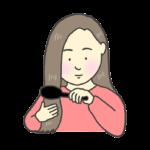 髪の毛を梳かす女性のイラスト