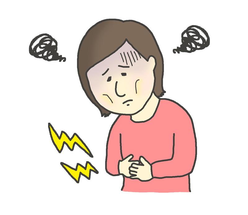 胃が痛い女性のイラスト