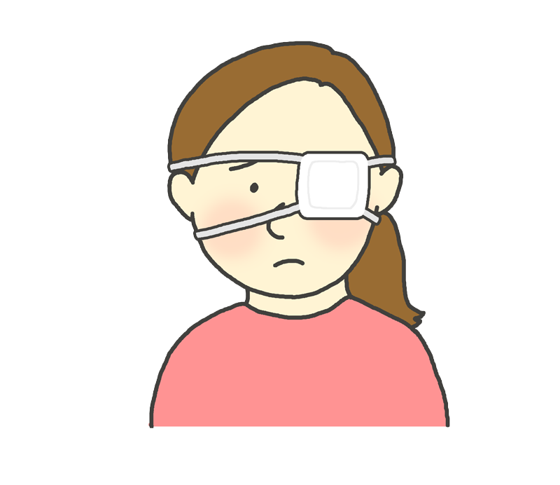 眼帯をしている女性のイラスト